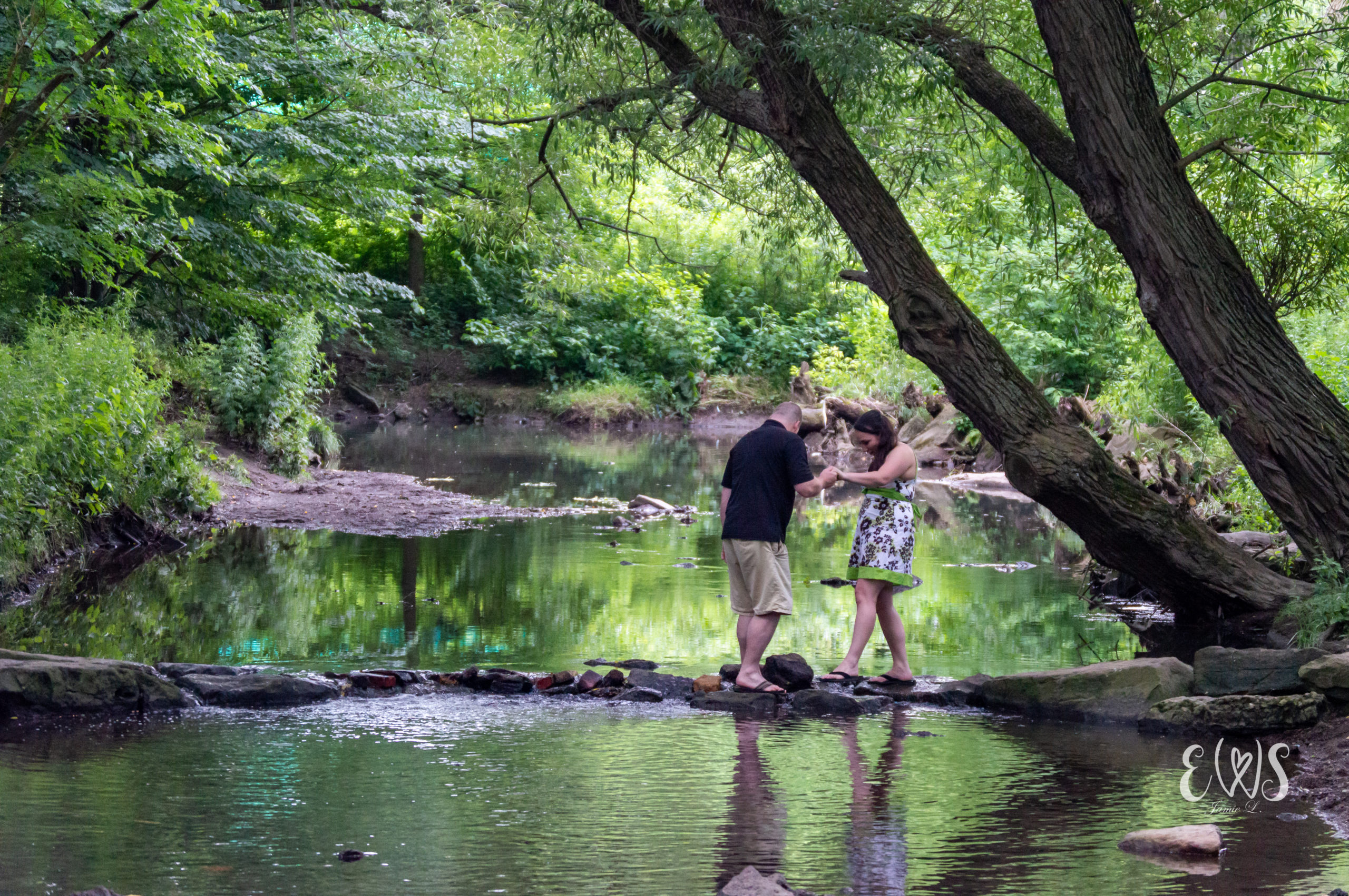 Engagement Photo in the Creek